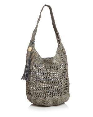 MAR Y SOL Mar Y Sol Aspen Crochet Tassel Tote in Dove/Silver