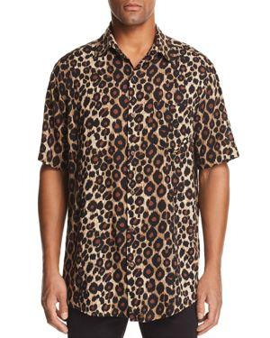 THE PEOPLE VS Stevie Short-Sleeve Leopard-Print Regular Fit Shirt in Jaguar