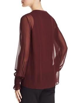 Go by Go Silk - Semi-Sheer Smocked Sleeve Blouse