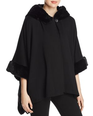 CAPOTE Faux-Fur-Trim Jacket in Black
