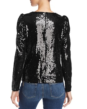 AQUA -  Puff-Sleeve Sequined Top - 100% Exclusive