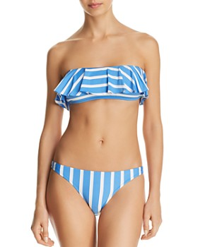 d0a26404bb6f5 MILLY - Stripe Swim Ruffled Bandeau Bikini Top & Stripe Swim St. Lucia  Bikini Bottom ...