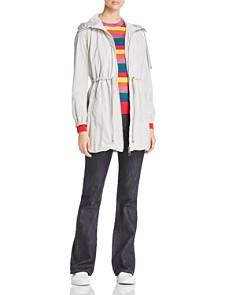 Moncler - Topaze Rain Coat, Rainbow Striped Sweater & Denim Jeans