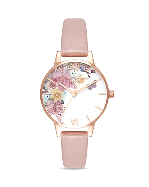 Olivia Burton Enchanted Garden Pink Vegan Leather Strap Watch, 30mm