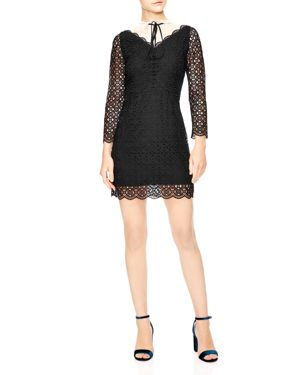 Cristina Contrast-Panel Geometric Lace Dress in Noir