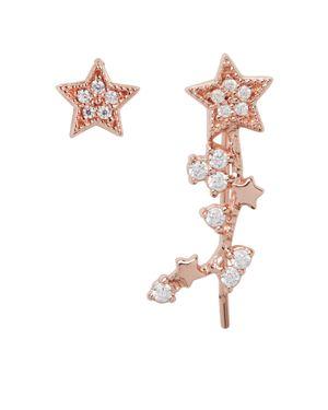 Celestial Star Ear Crawler & Stud Earring Set, Rose Gold
