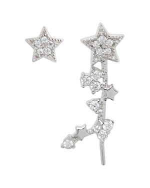 Celestial Star Ear Crawler & Stud Earring Set, Silver
