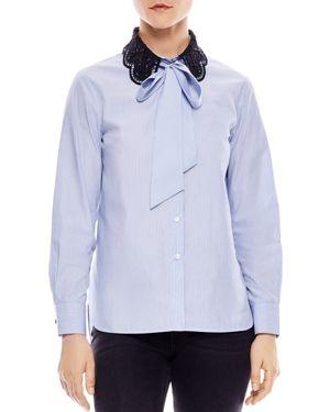 Sandro Carillon Lace-Collar Striped Shirt