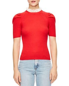 Sandro - Sphynx Ruffled Collar Ribbed Short-Sleeve Sweater