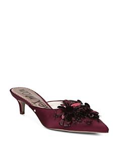 Sam Edelman - Women's Dorcy Embellished Satin Kitten Heel Mules