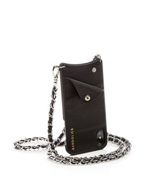 BANDOLIER Lucy Leather Iphone X Crossbody in Black Silver