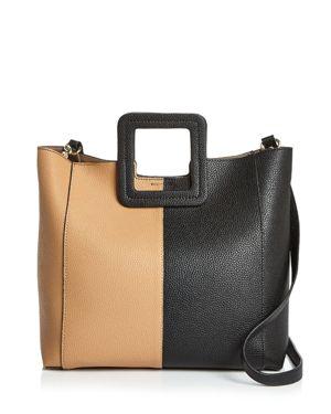 TMRW STUDIO Antonio Color Block Leather Satchel in Black/Brown/Gold