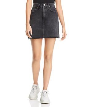 rag & bone/JEAN - Moss Raw-Edge Denim Mini Skirt