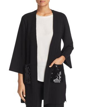 LE GALI Rona Sequin-Pocket Open Cardigan - 100% Exclusive in Black
