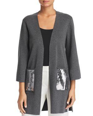 LE GALI Rona Sequin-Pocket Open Cardigan - 100% Exclusive in Gray Melange