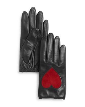 AQUA - Heart Appliqué Leather Tech Gloves - 100% Exclusive