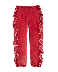 CHASER - Girls' Vintage-Wash Ruffled Jogger Pants - Little Kid, Big Kid