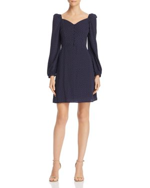 EN CREME Puff-Sleeve Polka Dot Dress in Navy