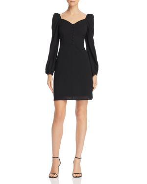 EN CREME Puff-Sleeve A-Line Dress in Black