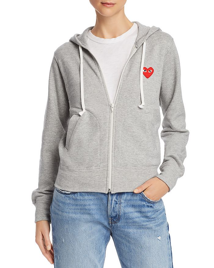 30e97a647d6660 Comme Des Garcons PLAY - Red Heart Zip-Front Hoodie