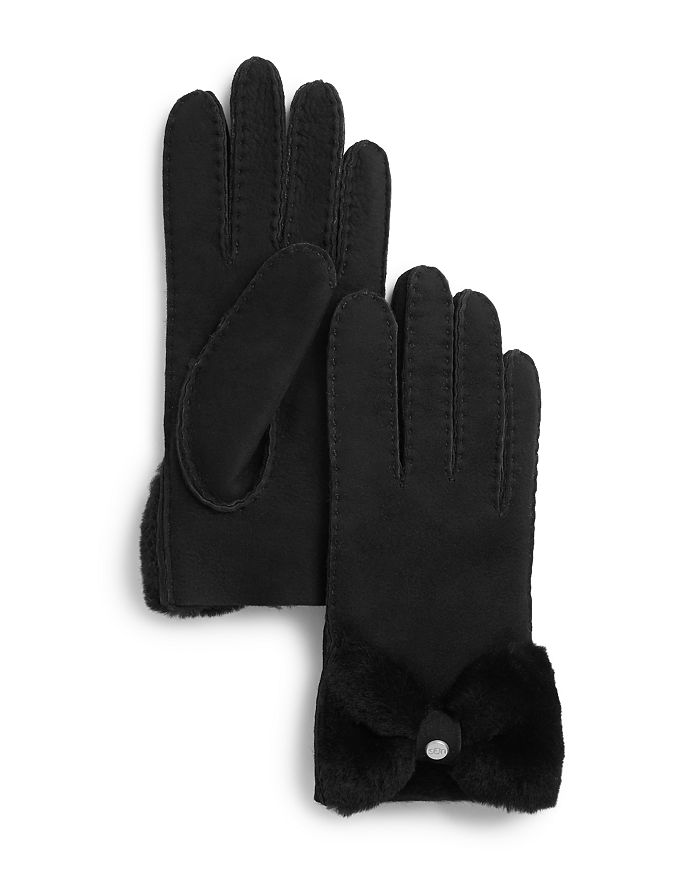 59d3872dd35 Shorty Bow Detail Shearling Gloves