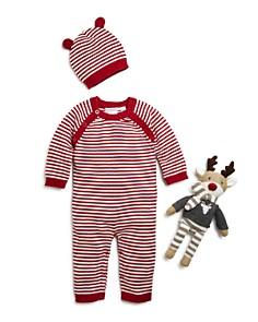 Elegant Baby - Unisex Striped Romper, Hat & Reindeer Gift Set, Baby - 100% Exclusive