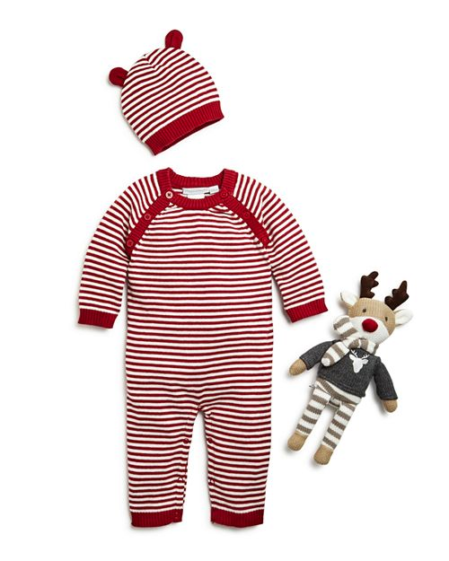 Elegant Baby - Unisex Striped Romper, Hat & Reindeer Gift Set, Baby - 100% Exclusive