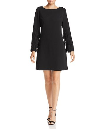 Adrianna Papell - Fringe-Trimmed Crepe Dress