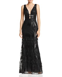 Avery G - Plunging Embellished Gown