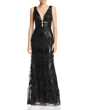 AVERY G Plunging Embellished Gown in Black