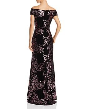 Eliza J - Off-the-Shoulder Sequined-Velvet Gown