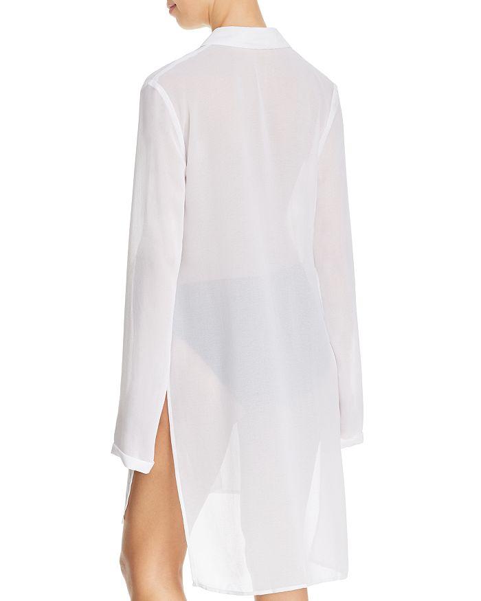 Carmen Marc Valvo Tie Front Tunic Swim Cover Up In Ivory