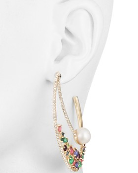Carolee - Multicolored Crystal & Cultured Freshwater Pearl Double Hoop Earrings