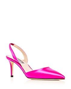 SJP by Sarah Jessica Parker - Women's Bliss Satin Slingback Kitten Heel Pumps - 100% Exclusive