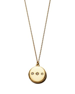 SASHA SAMUEL 14K Yellow Gold Plate Hannah Locket Necklace With Cubic Zirconia, 20