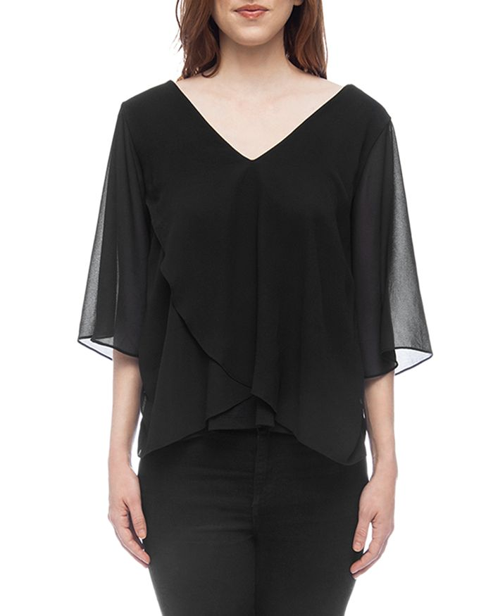 B Collection by Bobeau - Bria Mixed Media Flutter Top