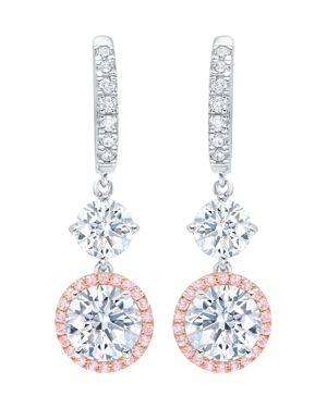 CRISLU Fiore Cluster Drop Earrings In Platinum-Plated Sterling Silver Or 18K Rose Gold-Plated Sterling Silv in Pink/Silver