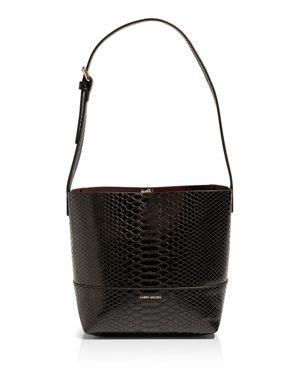 KAREN MILLEN Faux Snakeskin Shoulder Bag in Black
