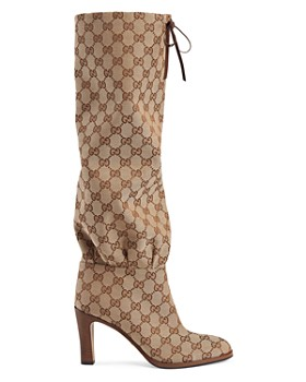 Gucci - Women's Lisa GG Canvas Mid-Heel Boots