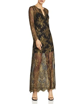 Bcbgmaxazria Olivia Metallic Lace Maxi Dress