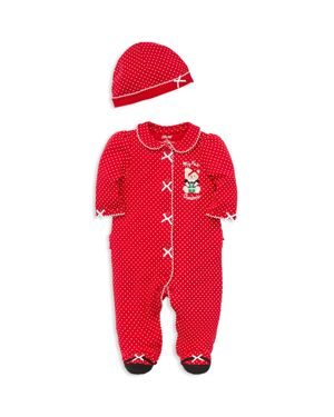 Little Me Boys' My First Christmas Dotted Bear Footie & Hat Set - Baby