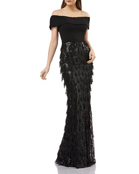 Carmen Marc Valvo Infusion - Off-the-Shoulder Sequined Gown