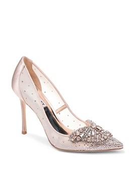 Badgley Mischka - Women's Quintana Glitter & Mesh High-Heel Pumps
