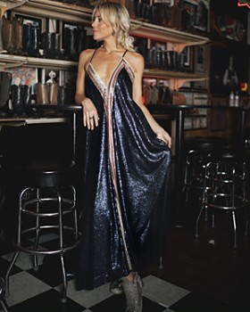 AQUA - Happily Grey x AQUA Sequined Maxi Dress - 100% Exclusive