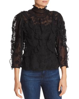 Ruffle Embroidered Silk Top in Black