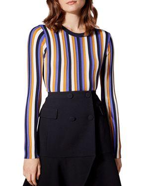 KAREN MILLEN Striped Crewneck Sweater in Multicolor