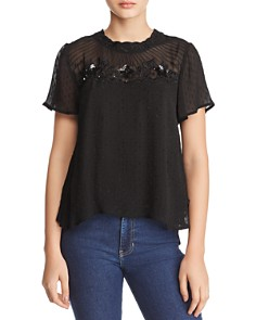 Velvet by Graham & Spencer - Sherleen Embellished Clip Dot Top