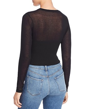 Bardot - Long Sleeve Bustier-Detail Cropped Sweater