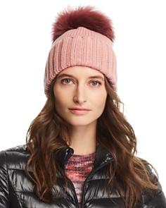 Inverni - Foldover Knit Beanie with Asiatic Raccoon Fur Pom-Pom