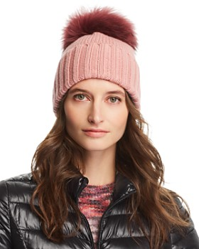 Inverni - Foldover Knit Beanie with Asiatic Raccoon Fur Pom-Pom